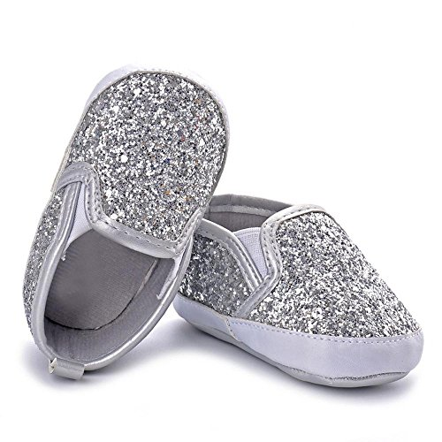 Newborn Sneakers 0-3 for Boys,Newborn Girls Boys Crib Shoes Soft Sole Anti-Slip Baby Sneakers Sequins Shoes,Boys' Running Shoes,Silver,6-12M (Shoes Lace Converse Crib Up)