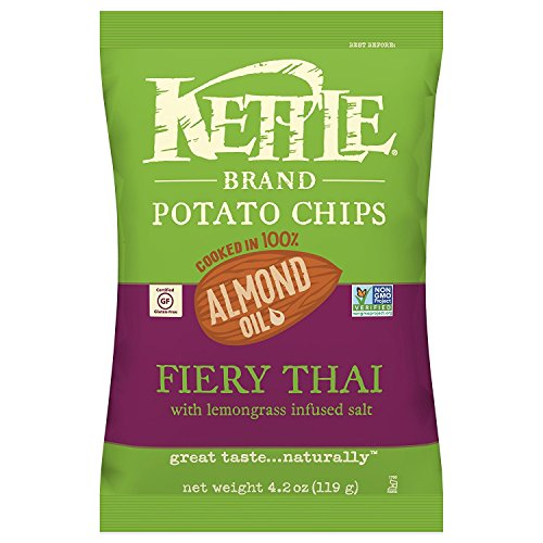 Kettle Brand Potato Chips, 100% Almond Oil Fiery Thai, 4.2 Ounce.