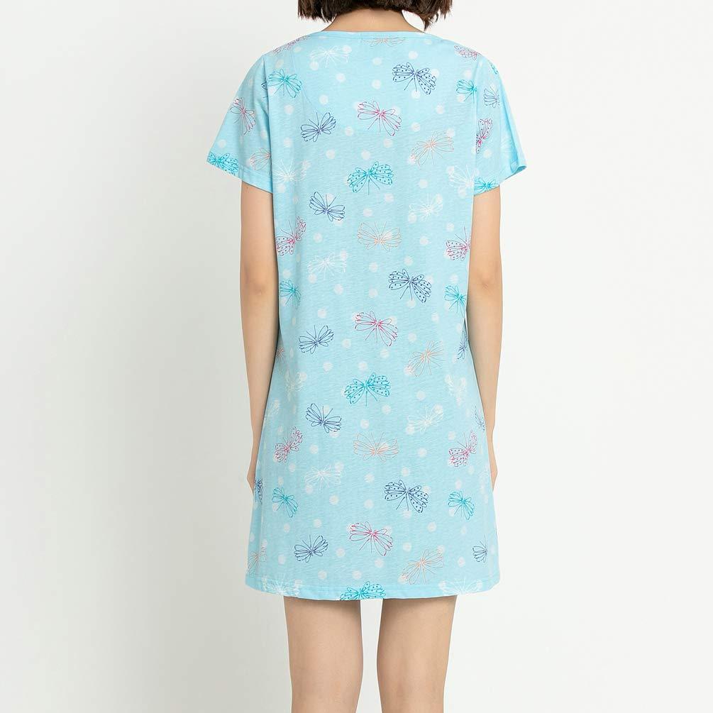 ENJOYNIGHT Women\'s Sleepwear Cotton Sleep Tee Short Sleeves Print Sleepshirt (X-Large, Flying)