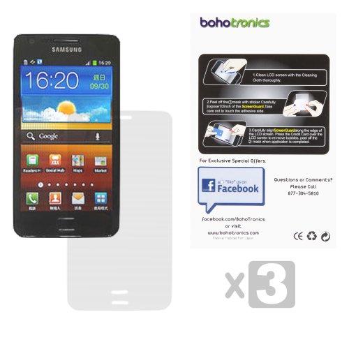 Boho Tronics TM Three Screen Protectors Shield Guard - Compatible With Samsung Galaxy SII S2 i9100 - Crystal Clear
