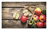 Lunarable Fruits Doormat, Box of Apples in On Wood Floor Penal Rusty Organic Nutrition Vitamin Harvesting, Decorative Polyester Floor Mat with Non-Skid Backing, 30 W X 18 L Inches, Pale Brown Red