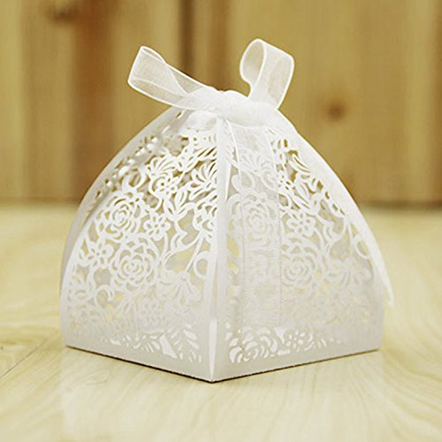KMALL 50PCS Laser Cut White Rose Wedding Gift Box Wedding Party Favor Candy Boxes 7 * 6 * 6 cm