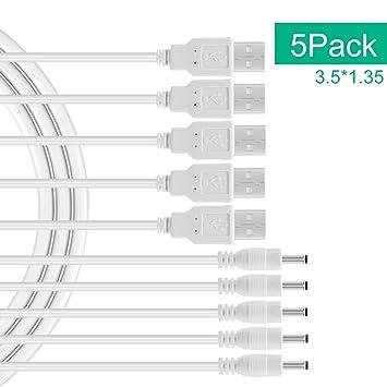 BENSN 5 Pack USB A Macho a DC 3,5 x 1,35 mm Cable de ...
