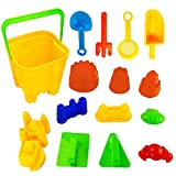 15 Piece Sand Castle Building Kit - Beach Toys Set with Large Bucket, Rake, Shovels, Molds and More