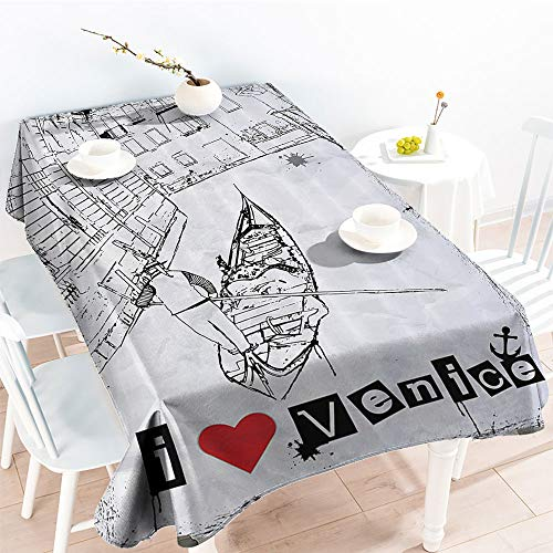(Jinguizi Decorative Fabric Table Cover Gondola Silhouette On Venetian Canal with I Love Venice Frame Illustrationindoor Outdoor TableclothRed Black White(60 by 90 Inch Oblong Rectangular))