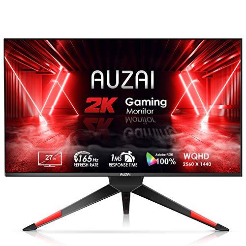 Monitor para juegos - 2021 AUZAI 27 pulgadas 2K 1ms 165Hz / 144Hz Monitor de computadora, pantalla sin marco WQHD 2560x1440p, compatible con G-SYNC y FreeSync, pantalla HDMI Eye Care para Xbox PS4 / 5, altura / pivote / inclinación ajustable