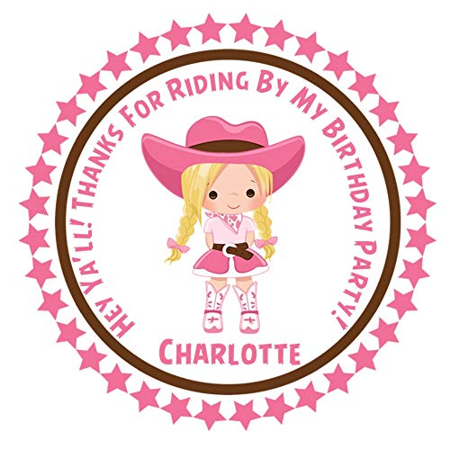 Amazon Com Pink Cowgirl Birthday Party Sticker Labels