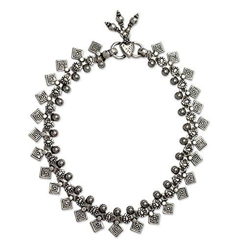 NOVICA .925 Sterling Silver Charm Anklet, 9.75'' 'Joyous Dance' by NOVICA