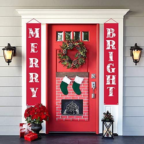 (Merry Bright Christmas Banner New Christmas Decorations Outdoor Indoor | Merry Bright Porch Sign | Red Xmas Decoration Banners for Home Wall Door Apartment)
