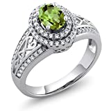925 Sterling Silver Green Peridot Women's Ring 1.36 Cttw Gemstone Birthstone (Size 7)