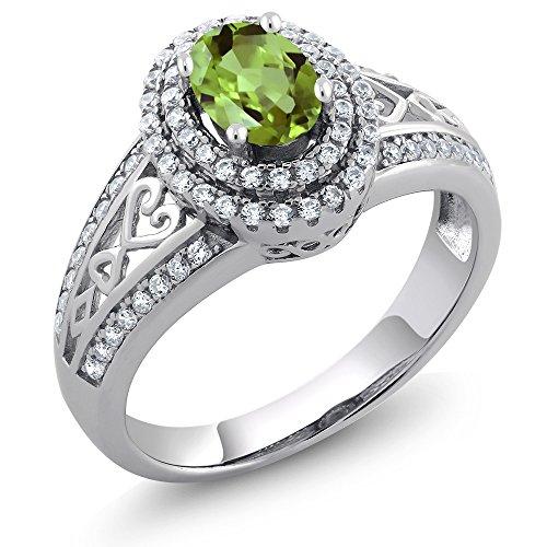 925 Sterling Silver Green Peridot Women's Ring 1.36 Cttw Gemstone Birthstone (Size 7) by Gem Stone King