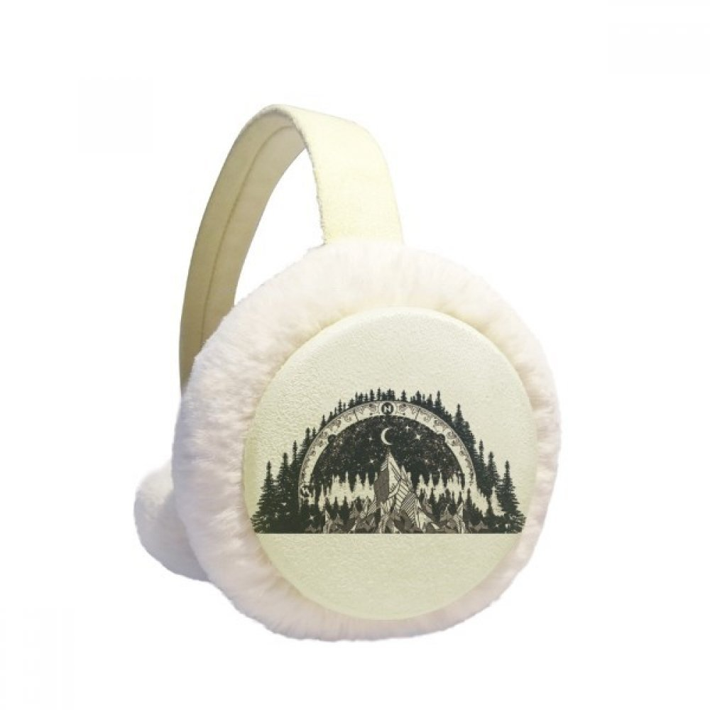 Iceberg Forest Moon Art Pattern Winter Earmuffs Ear Warmers Faux Fur Foldable Plush Outdoor Gift