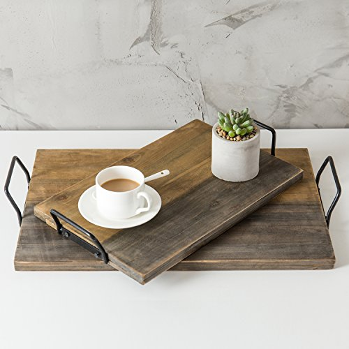 (MyGift Aged Wood Plank-Style Serving Trays with Metal Handles, Set of 2)