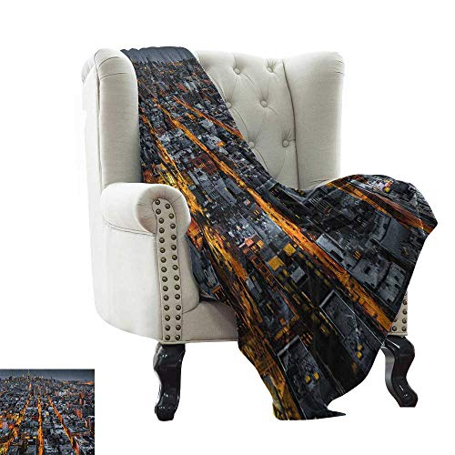 (LsWOW Baby Blanket Yarn City,Avenues Converging Towards Midtown in New York America Architecture Aerial, Marigold Grey Black Cozy and Durable Fabric-Machine Washable 30