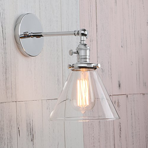 Cheap  Permo Single Sconce with Funnel Flared Glass Clear Glass Shade 1-light Wall..