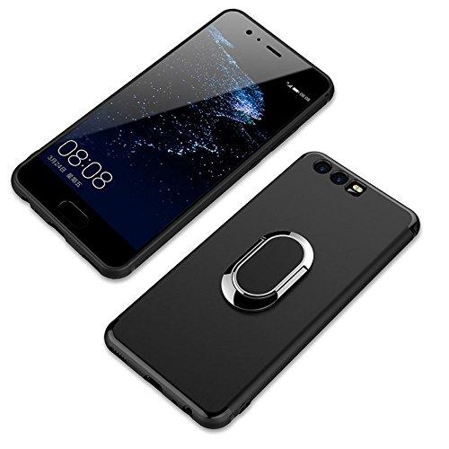 Huawei P10 Funda,Anillo Soporte de 360 Grados de Rotacion Carcasa con Metal Base para Huawei P10 Estuches (Negro)