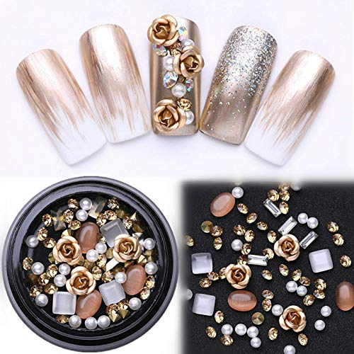 3D Metal Nail Art Decoration Ocean Rivets Gold Shell Rhinestones Manicure Tips (Colour - #29 Champagne Mixed(1 Box))