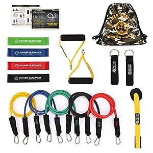 POWER GUIDANCE 16 pcs Resistance Bands Set, Stretch Training Set 5 Exercise Bands, Resistance Loop Bands, Handles, Door Anchor, Ankle Straps Carry Bag