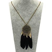 ERAWAN Women Fashion Retro Dream Catcher Pendant Long Sweater Chain Necklace Gift EW sakcharn (Black)