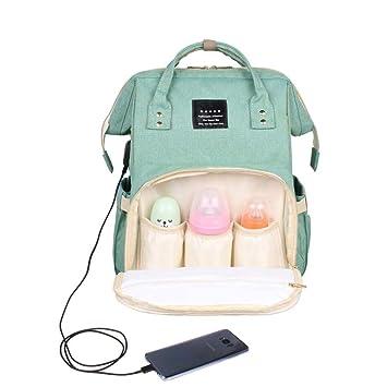 HSSKK Accesorios Moda USB Carga pañal Bolsas Maternidad bebé ...