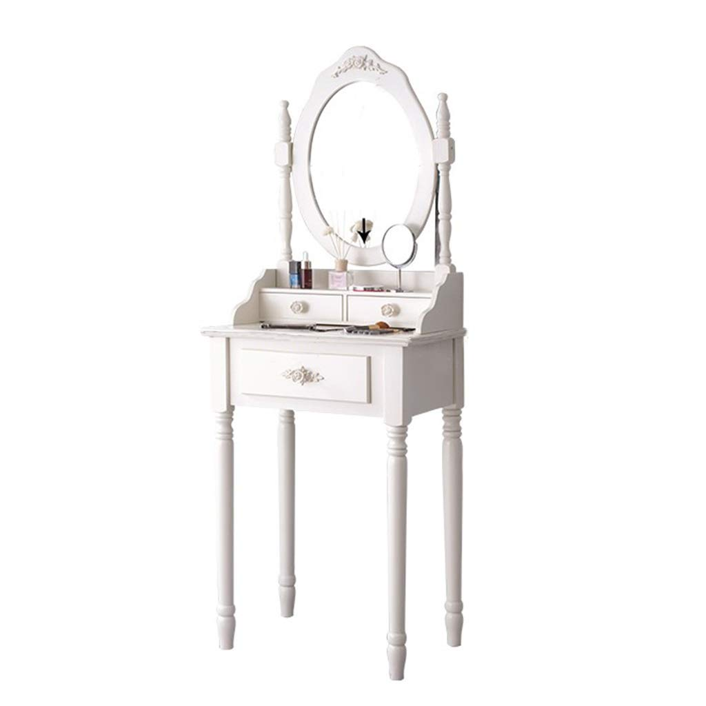Schminktisch Weiß Moderne, Europäische Mini-Schlafzimmer Kosmetikspiegel Prinzessin Korean Style Small Mit Schubladen Apartment Kombination (Size : 50cm)