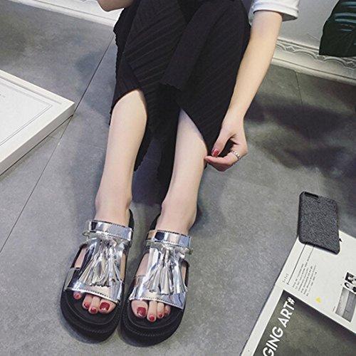 Ouneed® Damen Sandalen , Damen Bling Quaste Sandalen Casual Schuhe Leder flache Peep Toe Student Schuhe Silber