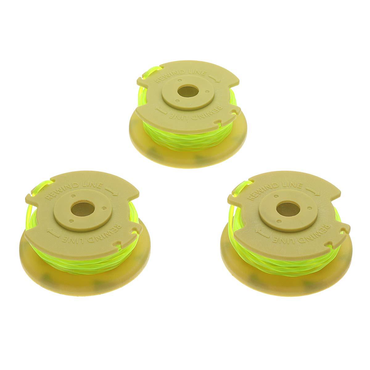 3pcs Yellow 0.080 Inch Line String Trimmer Line for Ryobi 12V 24V 40V Mower