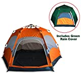 Qwest Premium Automatic 4-6 person Instant Easy Pop Up Camping Tent, Hexagonal, Orange, Double Layer, Double Doors & 4 Windows, Anti-UV Waterproof Windproof Lightweight Portable Review