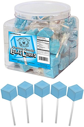 Buffalo Bills Cotton Candy LolliCubes (40 wrapped cube-shaped light blue lollipop suckers per tub)