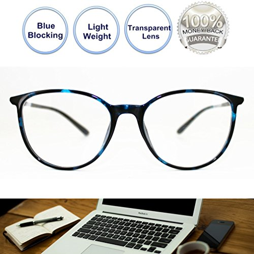 Non Prescription Glasses Blue Blocking Round Light Weight Comfortable Fit Anti Eye Stain Gaming Glasses for Women - Glasses Blocking Computer Blue Best