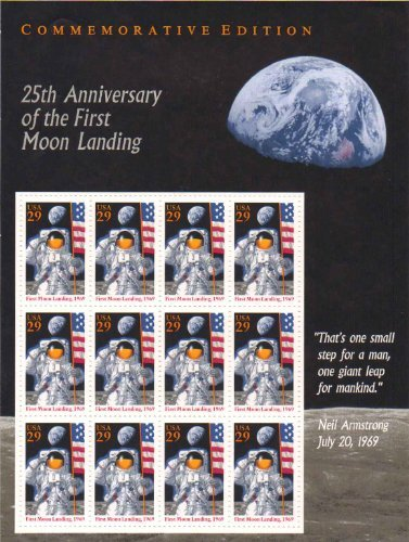 25th Anniversary of the First Moon Landingsheet of 12 29 Cent Stamps Scott 2841