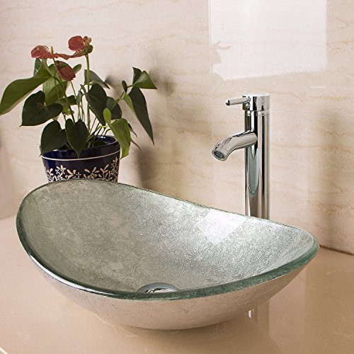 Sliverylake Oval Artistic Silver Green Bathroom Glass Vessel - Glass Bowl Bathroom Sink