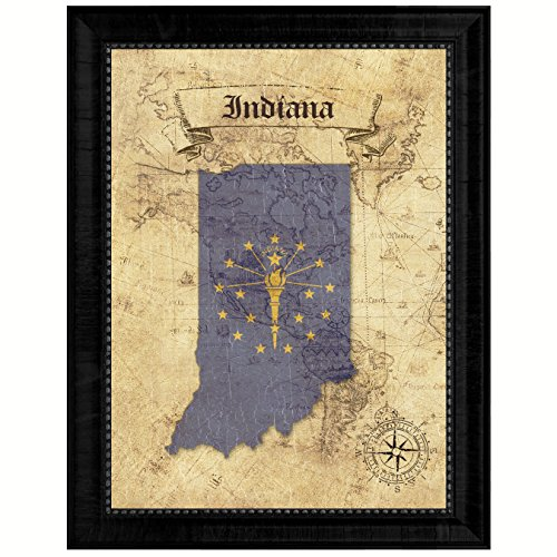 (Indiana State Vintage Map Flag Canvas Print with Custom Black Picture Frame Home Decor Wall Art Decoration Gift Ideas, 15