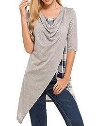 Meaneor Women's Casual Loose Fit Short Sleeve Hankerchief Hem Tunic Top Shirt