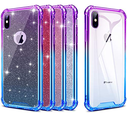 ANOLE Compatible for iPhone Xs Max Case, Slim Gradient Soft TPU & Hard Clear