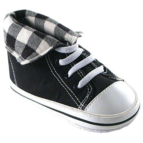 Luvable Friends Fold-Down Hi-Top Sneakers (Infant), Black, 6-12 Months M US Infant (Baby Top Shoes)