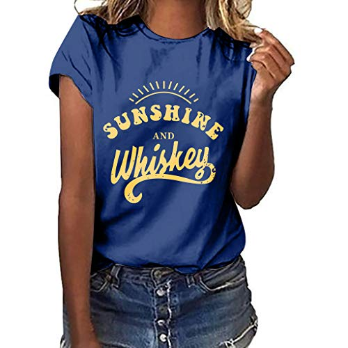 (Women T-Shirt Casual Summer Short Sleeve Tee Letter Print Loose Blouse Tops (L, Navy) )