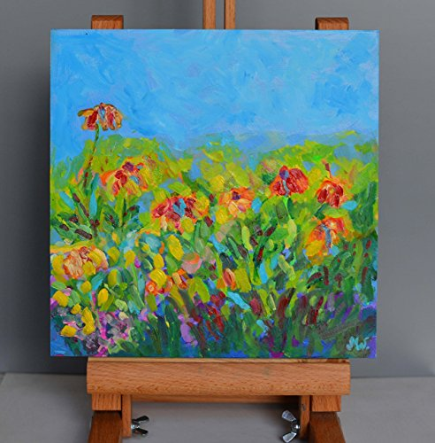 Flowers painting Small canvas painting Flowers original oil painting mini size art (Board Flowers Painting)