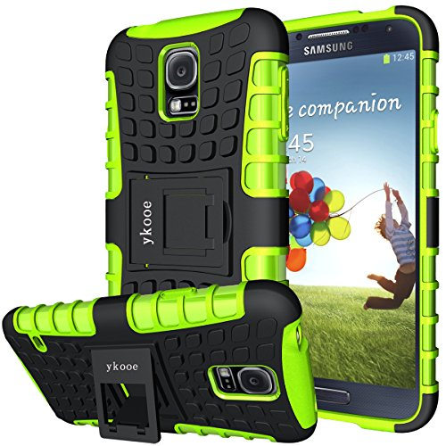 ykooe Phone Case for Samsung Galaxy S5 Case, (Armor Series) Galaxy S5 New Dual Layer Shockproof Case Silicone Phone Protective Cover with Kickstand for Samsung Galaxy S5 i9600 (Green)