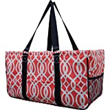 N. Gil All Purpose Open Top 23'' Classic Extra Large Utility Tote Bag 2 (Vine Coral)