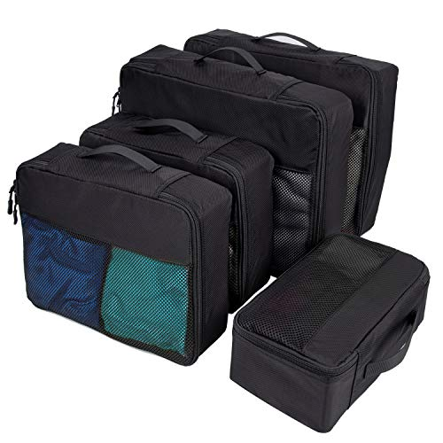 5 Set Packing Cubes for Travel, Durable Luggage Packing Organizers - Small, Medium and Large, Black