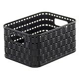 Rotho Rattan Look Storage Basket, Black, 2 Litre, 18.3 x 13.7 x 9.8 cm by Rotho