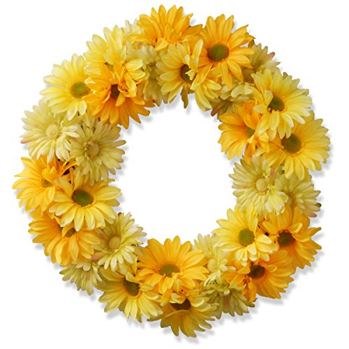 National Tree 19 Inch Floral Wreath with Yellow