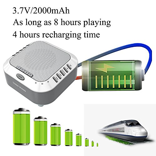three sheep White Noise Machine Sound Machine, Music Player with Night Light, Preset 5 Soothing Sounds, Timer, and Rechargable Battery (sliver) by three sheep (Image #8)