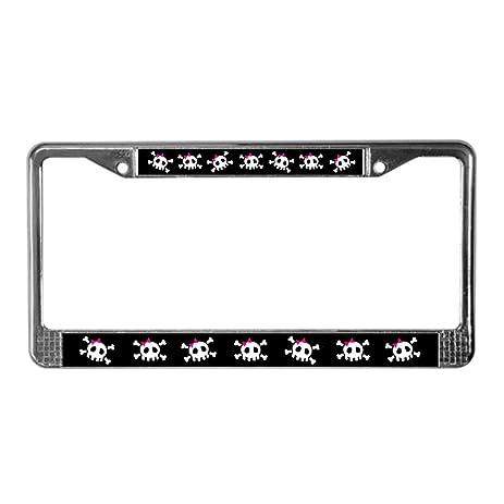 Amazon.com: CafePress - Pink Skull License Plate Frame - Chrome ...