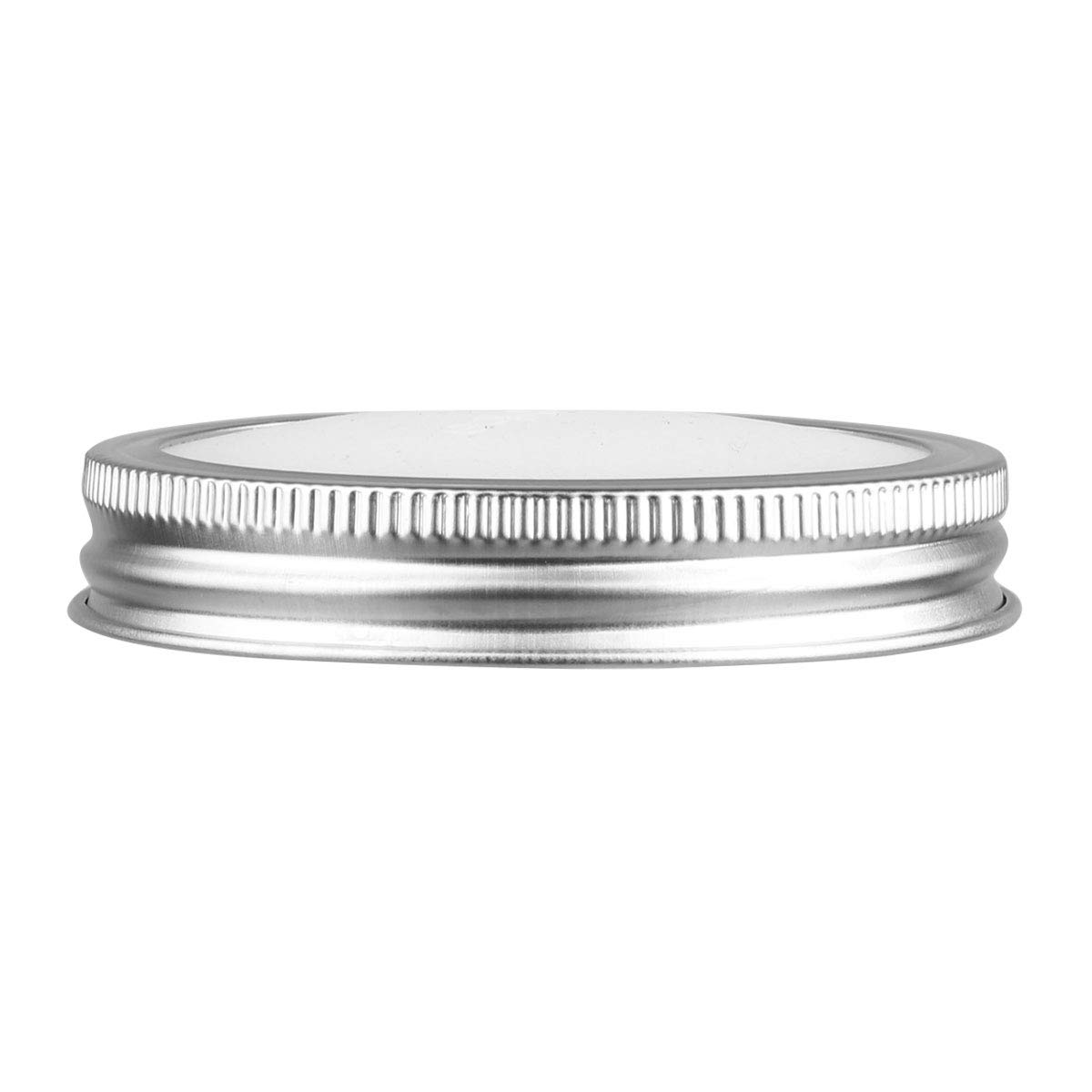 CHICTRY Stainless Steel Mason Jar Lids Rust Resistant Polished Storage Solid Caps with Silicone Sealing Lid Inserts Suitable for Mason Ball Canning Jar Silver 86mm by CHICTRY (Image #1)