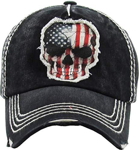 (Men's USA American Flag Skull Vintage Ball Cap (Black))