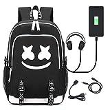 Marshmello DJ Travel Backpack with USB Charging Port Unisex Fashion Bookbag