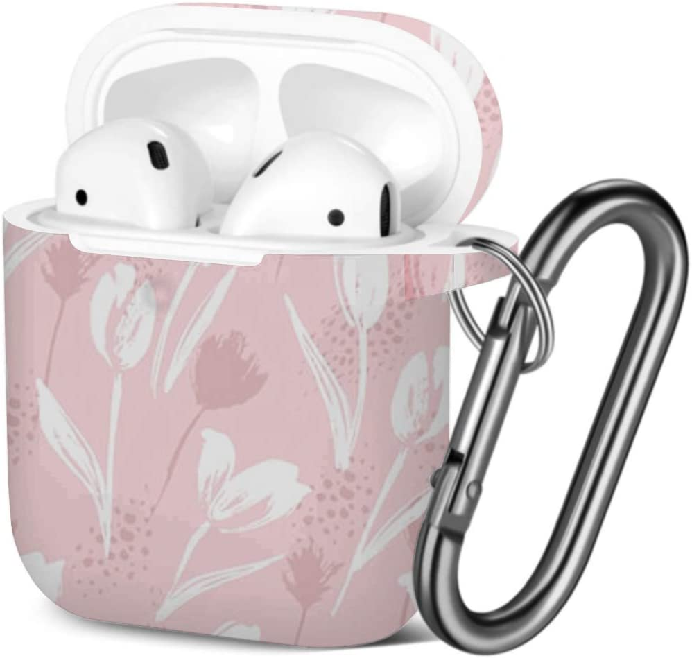 Floral Tulips Shockproof Soft TPU Gel Case Cover with Keychain Carabiner for Apple AirPods Compatible with AirPods 2 and 1