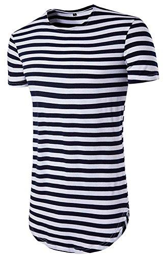 CSLRJ SLRJ Men's Hipster Curved Hem Short Sleeve Striped T (Answer Short Sleeve T-shirt)